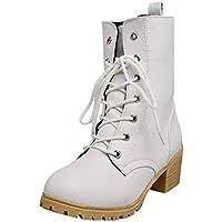 Zapatos combat con correa moda mujer fashion,Sonnena Zapatos de mujer de color sólido de invierno Botas de tobillo de combate Botines calientes casuales