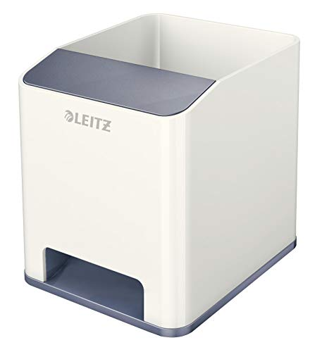 Leitz 53631001 Sound Stifteköcher (Soundverstärkungsfunktion, WOW) perlweiß/grau