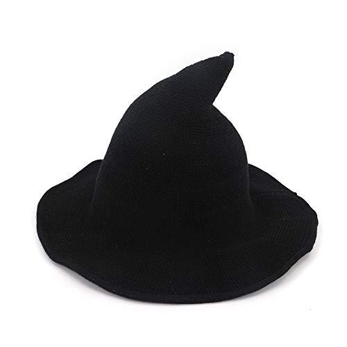 Imagen de qjxsan moda mujer divertido duende sombrero bruja amplia lado punto portátil plegable cubo casual pescador sombrero sra. rol puntero cap