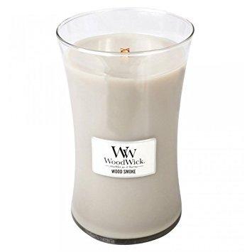 WoodWick vela aromática grande en forma de reloj de arena, humo de leña