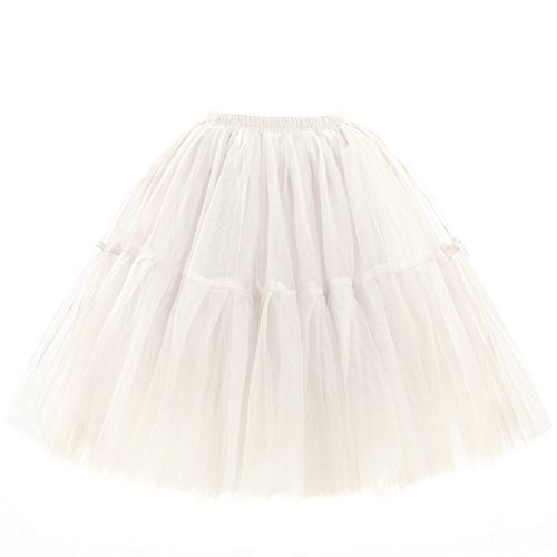 Babyonline Damen Tüllrock 5 Lage Prinzessin Kleider Knielang Petticoat Ballettrock Unterrock Pettiskirt Swing Einheitsgröße - Beige