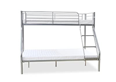 Humza Amani Palmdale Metal Triple Sleeper Bunk Bed - Single/Double (201 x 145 x 154 cm), White