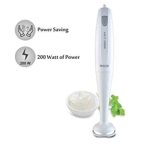 Inalsa Hand Blender Robot 2.5PS 200-Watt | with Low Noise DC Motor | Detachable Stem | Multipurpose Stainless Steel Blade (White)