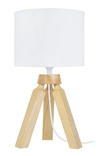Tosel 65287lampada comodino, 1Luce, legno, E14, 40W, bianco, 16x 31cm