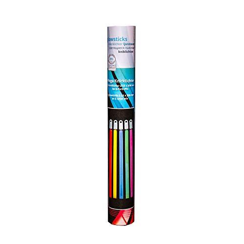 KNIXS - Mega Outdoor Knicklichter Set im 5er Partypack - 300 x 15 mm groß 5 Bunte Farben, extrem helle neon Leuchtstäbe mit Zubehör