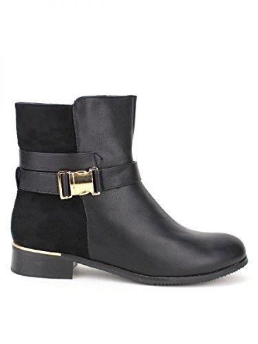 Cendriyon, Bottine bi matière noire CINKE Chaussures Femme Noir