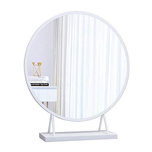Espejo de Baño/Espejo de Mesa/Espejo Redondo para Sala de Estar, Dormitorio 50X50 cm Dorado/Blanco...