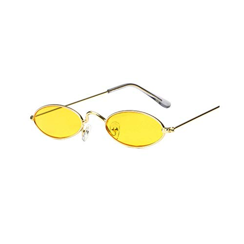 Sportbrillen, Angeln Golfbrille,Small Oval Sunglasses Men Women Retro Metal Frame Yellow Red Vintage Tiny Round Skinny Male Female Sun Glasses UV400 as picture C6