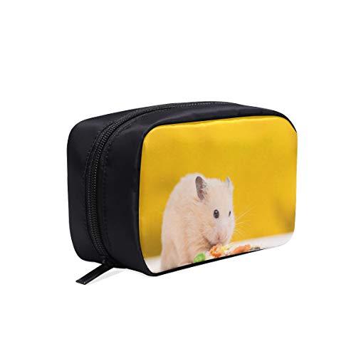 Netter kleiner Hamster, der tragbaren Reise-Make-upkosmetiktaschen-Organisator-Multifunktionsfall-kleine Kulturbeutel für Frauen und Männer isst, bürstet Fall