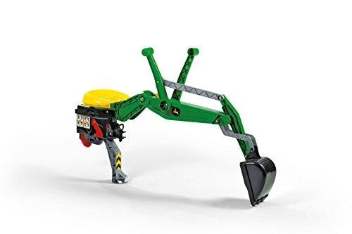 Rolly Toys 409358 Heckbagger rollyBackhoe John Deere | voll funktionstüchtig mit umklappbarem Stützfuß und extra Sitz | Belastbar bis 50 kg | ab 2,5 Jahren | Farbe grün/gelb
