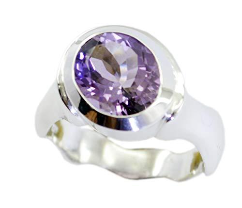 riyo Jaipur 925 Sterling Silber Charmanter natürlicher lila Ring, Amethyst Lila Edelsteine   Silberring -
