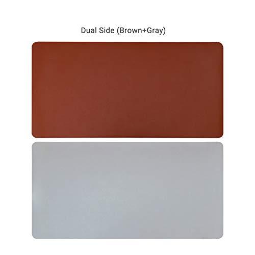 DM&FC Pu Mouse Pad Wasserdicht, Verlängert Nicht-Slip Desk-pad-Protector Dual-use Schreibtisch Schreibtisch Büro-schreibunterlage Für Office Home-braun + Grau 90x45cm(35x18inch) (Grau Schreibunterlage)