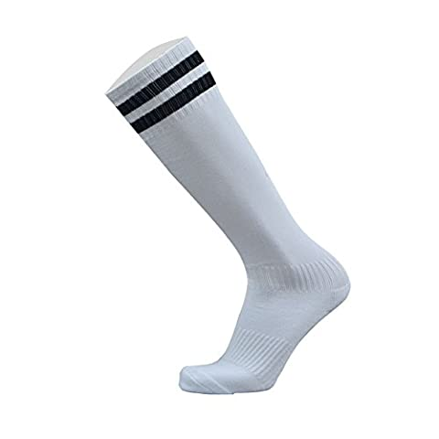 Houda Unisexe Homme Femme genou haute Qualitystriped Sports Football/Soccer/hockey Chaussettes de tube, blanc/noir
