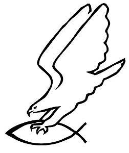 Motif aigle avec poissons argenté