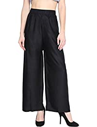 Meoby Silky Rayon Women Stretchable Plazo Pant Indian Ethnic Plain Casual Wear Plazo Pant For Women's And Girls...