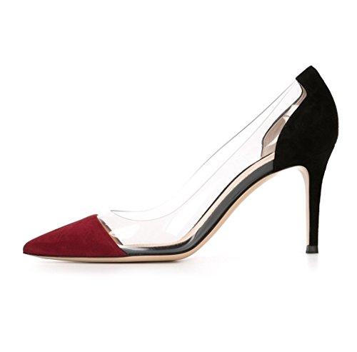 Kolnoo 80 Milímetros Bombas Transparente Damenschuhe, Apontou Toe Sapatos De Salto Stiletto Deslizamento-ons Winered