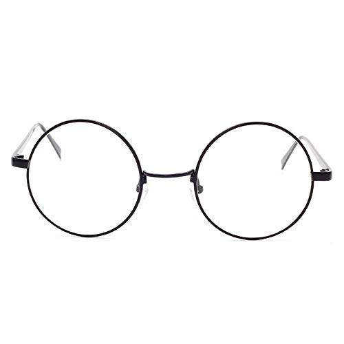 WULE-RYP Polarisierte Sonnenbrille mit UV-Schutz Retro Classic Metral Klare Brillengläser Flacher Spiegelglasrahmen. Superleichtes Rahmen-Fischen, das Golf fährt (Farbe : Schwarz)