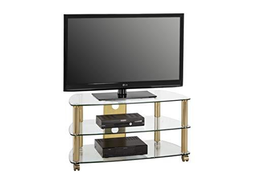 MAJA-Möbel 1608 9978 TV-Rack, Messing - Klarglas, Abmessungen BxHxT: 95 x 50,5 x 51,4 cm
