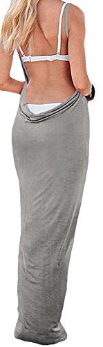 Elsa Steen - Damen Einfarbiges Spaghetti Träger Strandkleid zum Wickeln, Viele Farben Grau