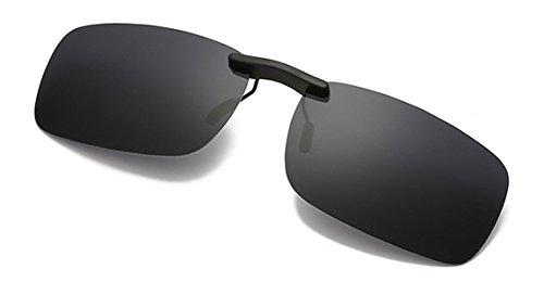Flydo Polarisierte Sonnenbrille Clip für Brillenträger-Stil Sonnenbrille für Myopie Brille im Freien/Fahren/Angeln-Anti-UV-Schwarz