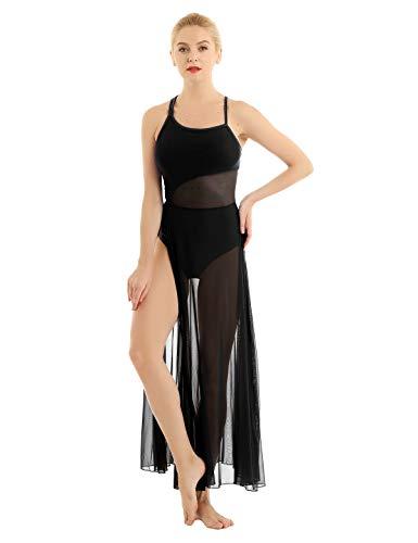 Chictry abito da ballo contemporaneo ragazza donna vestito da danza lirica classica leotard balletto body ginnastica dancewear senza manica tutu elegante performance nero medium