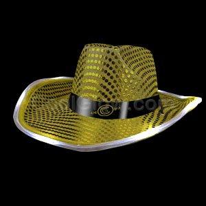 Fun Central ai3211LED-Licht bis Pailletten Cowboy Hut, Western, Cowboy Hüte für Männer und Frauen-Perfekt für Western Party, Geburtstag, Konzerte, Stage, und Tänze-Gold