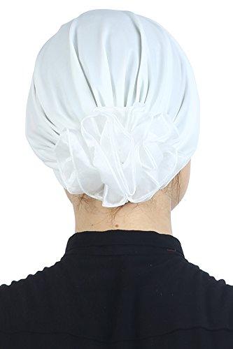 Coiffe Doux Rembourrée et Pliée avec Fleur en Chiffon à l'arrière pour Perte de Cheveux, Chimio, Cancer Crème