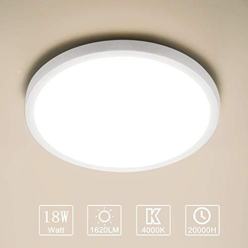 Yafido Plafonnier LED 18W UFO Panel Rond Lampes de Plafond Moderne Ultra-mince LED Lampe 1620LM Blanc Naturel 4000K Facile à installer Applicable à Salle de Cuisine Salon Balcon Ø18*2.5cm