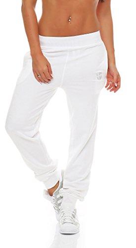 Gennadi Hoppe Damen Jogginghose Trainingshose Sweat Pants Sporthose Fitness Hose,weiß,Medium (Jogginghose / Sporthose Für Frauen Weiße)