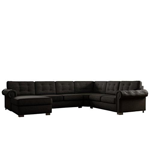 Ecksofa Chesterfield Maxi, freistehendes Polsterecke Couch Sofa, Antik Look Couchgarnitur, Wohnlandschaft, Farbauswahl (Enzo 165, Ecksofa Links)