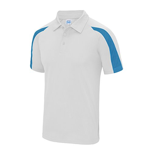 Contrast cool polo AWDis Streetwear Shirts Uomo Arctic White-Sapphire Blue