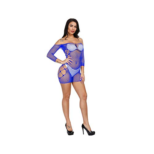 MOOPYS& ms Ragdoll Fishnet Underwear Elasticity Cotton Lenceria Sexy Lingerie Mesh Baby Doll Dress Erotic Lingerie for Women Sex Costume Blue One Size - Lycra-mesh Baby Doll
