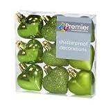 Weihnachtsdekoration 9er Pack 40mm Multi Finish Herz baubles - Apple Green