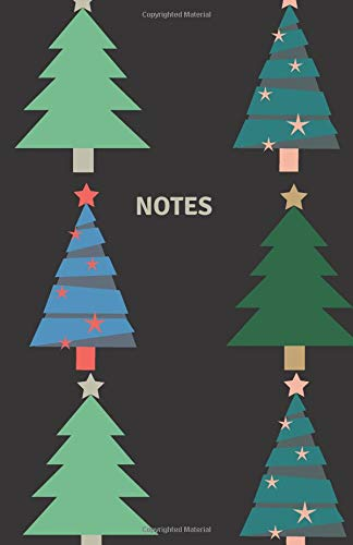 Notes: Classic Medium Lined Journal/Diary for Everyday Use Folk-Style Christmas Trees on Black