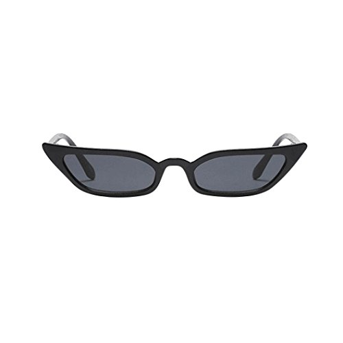 URSING Damen Vintage Katzenaugen Sonnenbrille Retro Kleiner Rahmen UV400 Brillenmode Cat Eye Sunglasses Mode Trendy Klassische Nachtsichtbrille Unisex UV400 Treibenden Gläser (Schwarz)