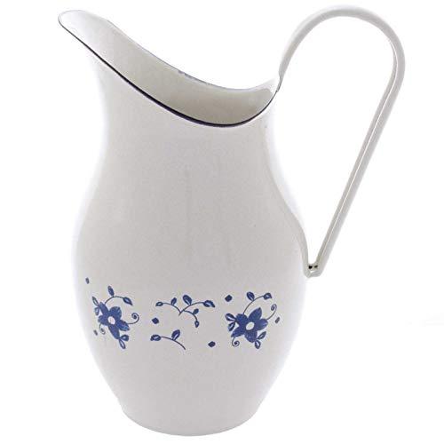 SIDCO Wasserkanne Shabby Milchkrug Krug Saftkrug Wasserkrug Kanne Vintage Emaille