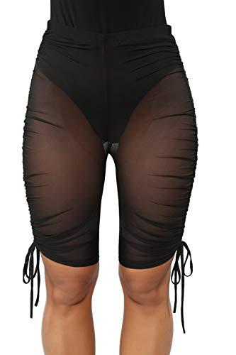 WenaZao Damen Sexy Perspective See Throug Mesh Sheer Swim-Shorts Bikini Bottom Cover Up - schwarz - Small - Sheer Cover-up-hose