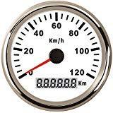 Autool 85mm Compteur de vitesse GPS inoxydable étanche Jauge de vitesse de 120km/H pour auto Camion 12V 24V