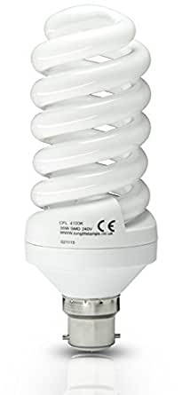 Cool White 35w Energy Saving Spiral Light Bulb, 175w Equivalent Very Bright, Bayonet Cap B22, New Advanced T3 Technology Instant Light