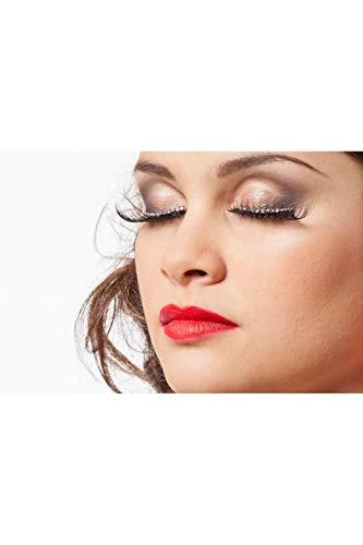 Jannes 34303 Elegante künstliche Wimpern zum Ankleben mit Falschen Diamanten Strass-Steinen Bling Show Glamour Einheitsgröße Schwarz