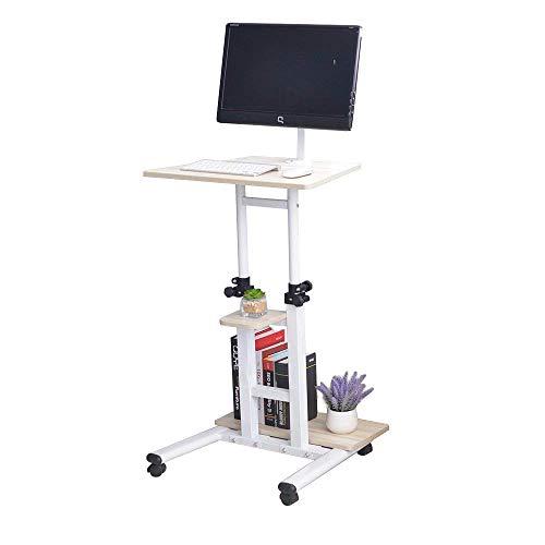 soges Laptoptisch höhenverstellbar, Computertisch Holz, mit Rollen, drehbar, Weiß Ahorn XG01-MP-N