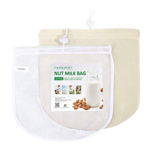 Hemoton 2 Pack Nussmilchbeutel Wiederverwendbare Feinmaschiges Nylon und organischer Baumwolle Filterbeutel für vegane Nussmilch Mandelmilch, Fruchtsaft, 30X30cm