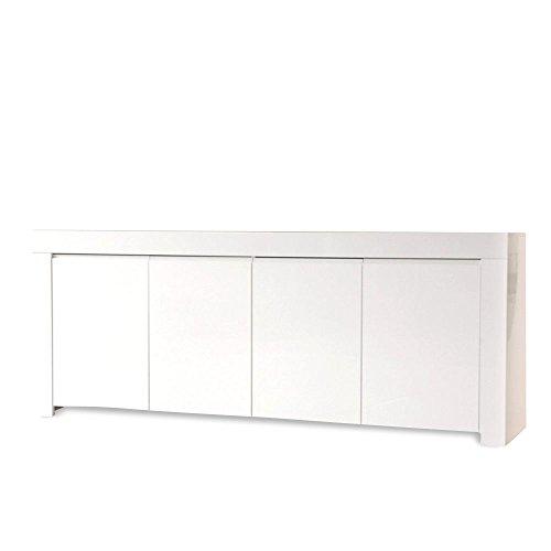 Homy Sideboard Holz/Schrank Weiß Hochglanz 4 Türen 210x84x50cm - ADA