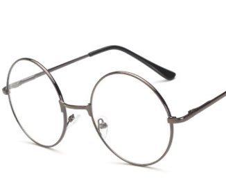 xel_uu.11 Unisex runder Retro-Metallrahmen klare Gläser mehrfarbiger Rahmen Flache Brille, braun