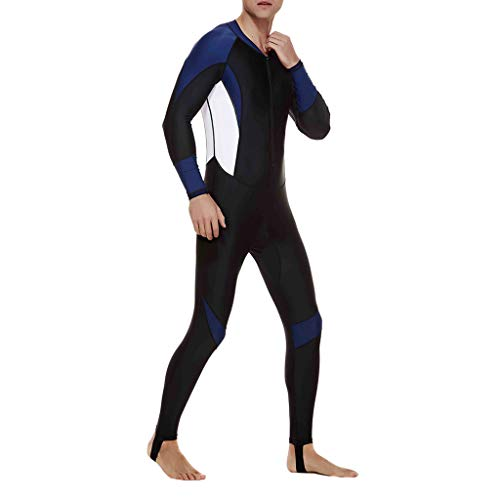 Battnot Herren Badeanzug Lang Jumpsuit Große Größen Schwimmanzug Schnorchelanzug Badehosen Schutzkleidung, Männer Stretch Ganzkörper Neoprenanzug Surf Overall UV-Anzug Mens Diving Steamer Swimwear (Männer Ganzkörper-anzug Für)