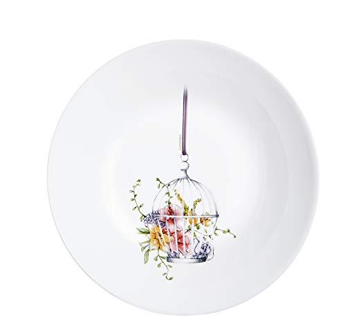 Luminarc L8370 - Juego de 6 platos llanos (20 cm), diseño de flores, color blanco