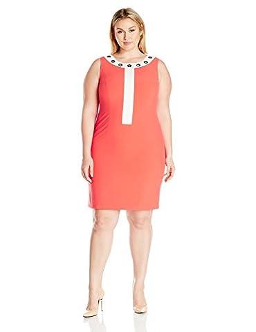 Nine West Women's Plus Size Dress W/ White Framed Neckline / Grommets, Tangerine/Lily, 18W