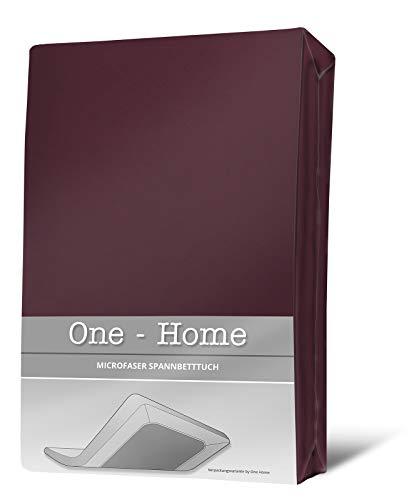 one-home Spannbettlaken Bordeaux 180×200 cm – 200×200 cm weinrot Microfaser Spannbetttuch