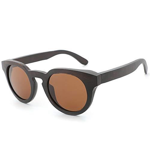 Gläser Handgefertigte Bambus-Holz-Gläser für Männer und Frauen runden Rahmen Vintage polarisierten Sonnenbrillen (Color : Braun, Size : Kostenlos)