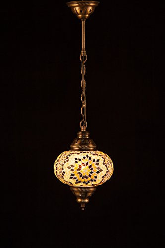 Handmade Turkish Lamp Moroccan Ottoman Style Mosaic Oval Mosaic Hanging Lamp Single Chain Lights Home Bedroom Restaurant Cafe Decoration Light Size 3 Brown Amber Typhoon